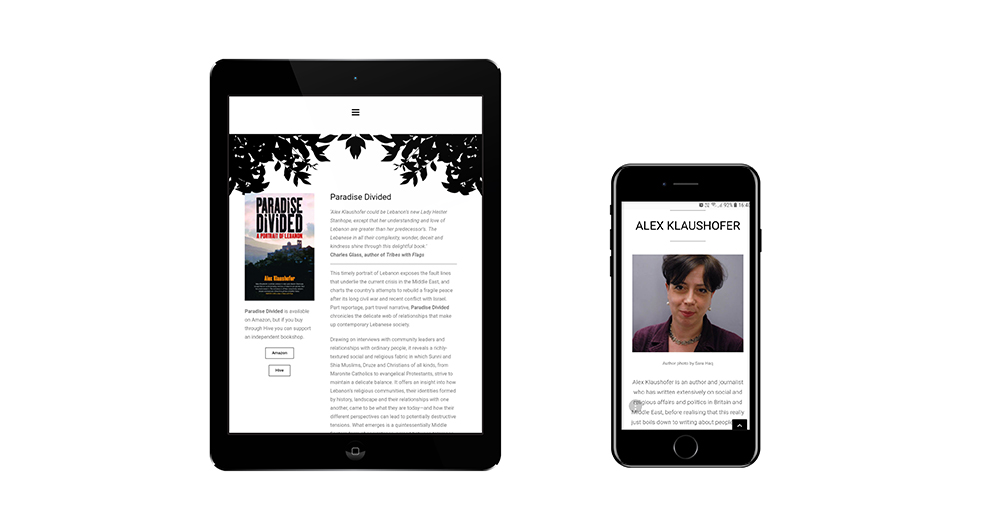 Portfolio image of Alex Klaushofer website - tablet and phone
