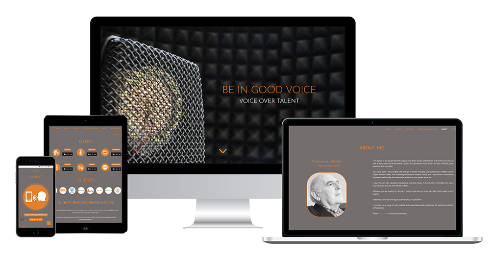 Portfolio image of Be In Good Voice website - all devices