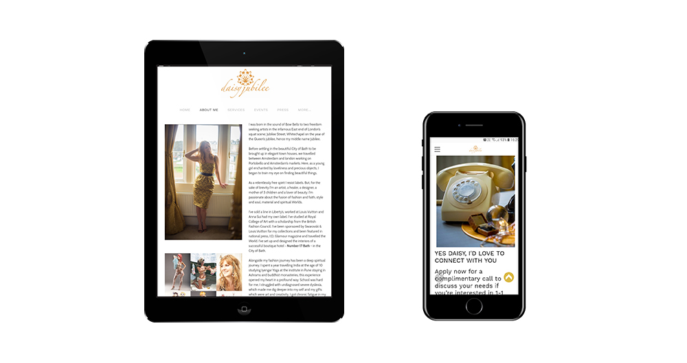 Portfolio image of Daisy Jubilee website - tablet and phone